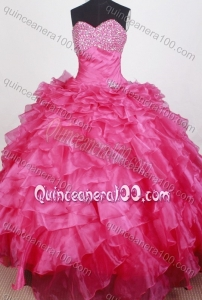 Exquisite Beading and Ruffles Ball Gown Sweetheart Hot Pink Quinceanera Dresses