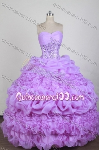 Exquisite Lilac Ball Gown Sweetheart Beading And Ruffles Quinceanera Dresses