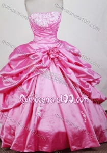 Gorgeous Ball Gown Strapless Appliques and Pick-ups Quinceanera Dresses in Rose Pink