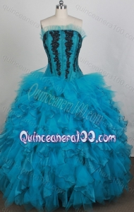 Gorgeous Ball gown Strapless Appliques Quinceanera Dresses in Teal