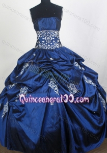 Royal Blue Strapless Full Lenght Quinceanera Dresses with Appliques