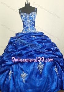 Royal Blue Spaghetti Straps Appliques with Beading Quinceanera Dressse