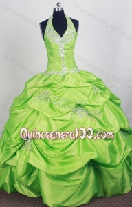 Spring Green Halter Top Quinceanera Dress with Pick-ups and Appliques