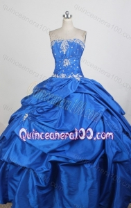 Strapless Ball Gown Royal Blue Quinceanera Dress with White Appliques