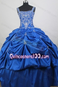 Straps Ball Gown Embroidery with Beading Royal Blue Quiceanera Dresses