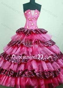 Hot Pink Sweetheart Appliques with Beading Quinceanera Dress with Ruffles Layers