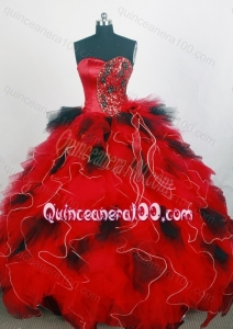 Sweetheart Ruffles and Beading Ball Gown Black and Red Quinceanera Dresses
