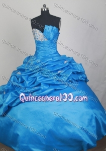 Blue Exquisite Appliques and Beading Strapless Quinceanera Dresses with Pick-ups