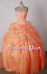 Beautiful Beading And Appliques Ball Gown Sweetheart Orange Quinceanera Dresses