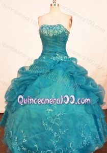 Beautiful Strapless Turquoise Quinceanera Dresses with Embroidery and Beading