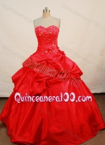 Elegant Ball Gown Appliques and Pick-ups Sweetheart red Quinceanera Dresses