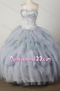 Elegant Beading and Appliques Ball Gown Sweetheart Silver Quinceanera Dresses