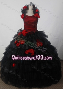 Fashionable Hand Made Flowers Ball Gown Halter Black Quinceanera Dresses