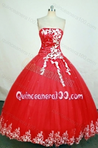 Gorgeous Red Ball Gown Strapless Appliques Quinceanera Dress