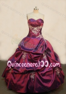 Luxurious Ball Gown Sweetheart Appliques and Pick-ups Burgundy Quinceanera Dresses