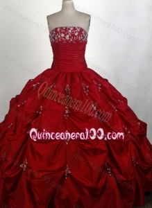 Strapless Appliques with Beading Full Length Wine Red Quinceanera Dresses