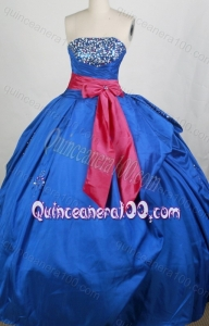 Popular Blue Ball gown Sash Beading Strapless Quinceanera Dresses