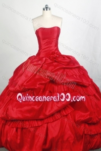 Popular Red Ball gown Strapless Pick-ups Quinceanera Dresses