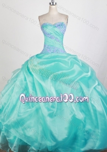 Sweetheart Ball Gown Apple Green Quinceanera Dresses with Appliques