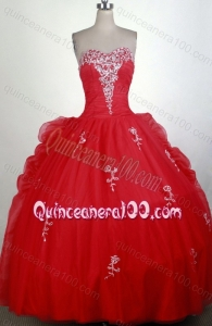 Sweetheart Ball Gown Appliques with Sequins Red Quinceanera Dresses