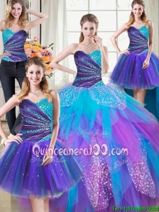 Three for One Puffy Tulle Beaded and Ruffled Detachable Quinceanera Dress in Rainbow Colored