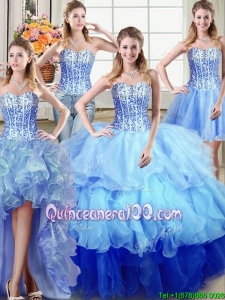 Exclusive Sequined and Ruffled Multi Color Detachable Quinceanera Dress in Organza