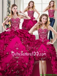 Beautiful Taffeta Embroideried and Bubble Sweetheart Detachable Quinceanera Dresses in Fuchsia