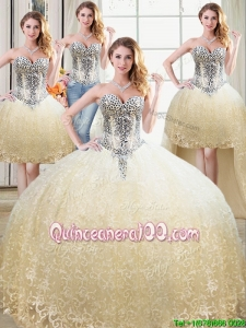Affordable Really Puffy Beaded Bodice Detachable Quinceanera Dresses in Tulle and Lace