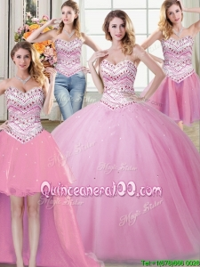 Most Popular Beaded Sweetheart Rose Pink Removable Quinceanera Dresses in Tulle