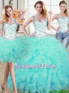 Discount Two for One Puffy Ruffled and Beaded Detachable Quinceanera Dress in Aqua Blue