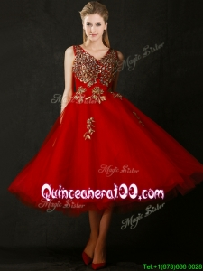 Beautiful V Neck Tea Length Dama Dress with Beading and Appliques