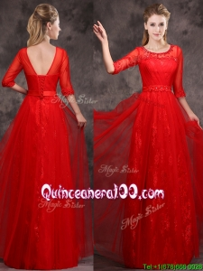 Latest Applique and Beaded Red Dama Dress in Tulle and Lace