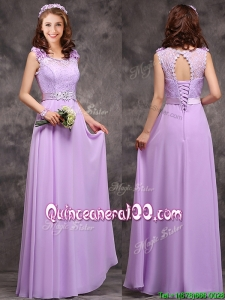 Beautiful Empire Scoop Laced Decorated Bodice Dama Dress in Lavender