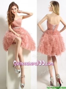 Classical Sweetheart Beaded and Ruffled Short Dama Dress in Peach