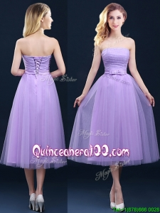 Discount Tea Length Tulle Lavender Dama Dress with Belt