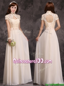Hot Sale High Neck Champagne Dama Dress with Appliques and Lace