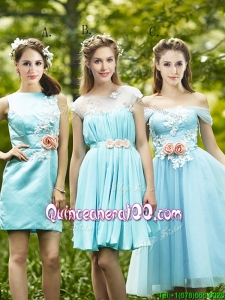 Most Popular Light Blue Dama Dress with Appliques for Spring
