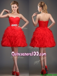 Perfect Really Puffy Red Dama Dress with Beading and Ruffles