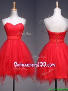 Wonderful Ruffled and Belted Short Dama Dress in Red