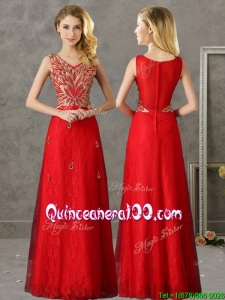 Classical V Neck Red Dama Dress with Appliques and Beading