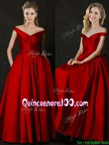 Latest Bowknot Wine Red Long Dama Dress with Off the Shoulder
