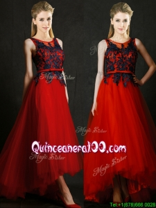 Perfect High Low Belted and Black Applique Dama Dress in Red