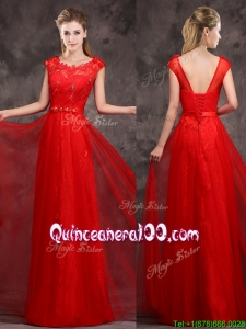 Hot Sale Scoop Red Dama Dress with Beading and Appliques