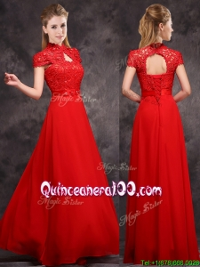 New Arrivals Applique and Laced High Neck Dama Dress in Red
