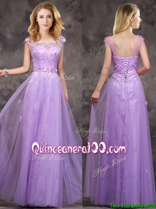 New Arrivals Beaded and Applique Long Dama Dress in Lavender