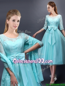 Romantic Aqua Blue Scoop Half Sleeves Dama Dress with Bowknot