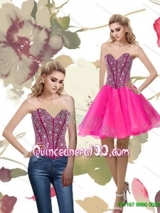 2015 Cheap A Line Hot Pink Dama Dresses for Quinceanera