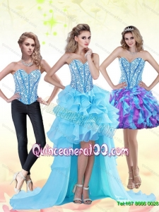 Aqua Blue High Low 2015 Dama Dresses for Quinceanera with Beading and Ruffles