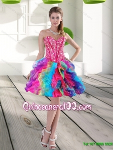 Classical Beading and Ruffles Organza 2015 Dama Dresses for Quinceanera in Multi Color
