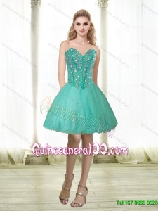 Elegant 2015 Beading and Appliques Sweetheart Dama Dresses for Quinceanera in Turquoise